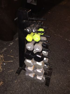 Dumbbells with rack for Sale in Boyertown, PA