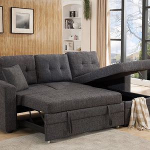 Limited Stock Brand New Linen Fabric Pull Out Sectional Sofa with (Reversible) for Sale in San Dimas, CA