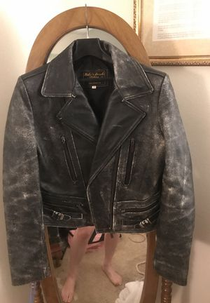 Women's distressed leather biker jacket size medium for Sale in Alexandria, VA