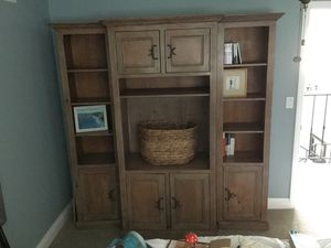 Light wood wall unit with storage and open shelving for Sale in San Diego, CA
