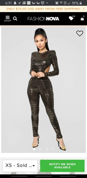 Golden jumpsuit for Sale in Los Angeles, CA