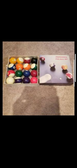 3- MUCH OLDER POOL STICKS! PLUS. VINTAGE POOL BALLS ! (ELIMINATOR,SPORT CRAFT, AMERICAN HERITAGE 19OZ!) for Sale in Delray Beach, FL