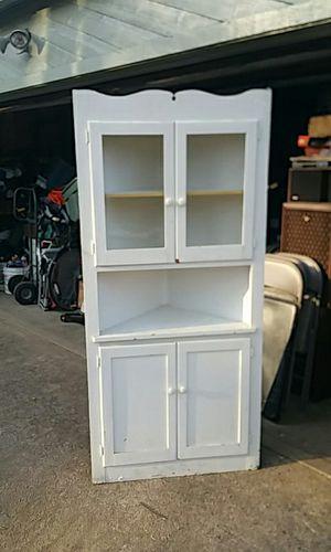 Antique corner china cabinet white in color for Sale in Marietta, GA