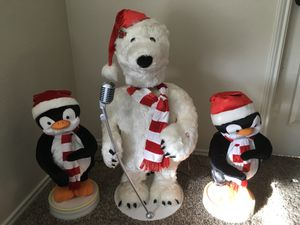 Gemmy 3 Piece Band Singing and Dancing Polar Bear & Penguins Christmas Decoration Prop for Sale in Rockwall, TX