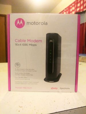 NEW Motorola MB7420 Cable Modem - 16x4 686mbps DOCSIS 3.0 - High Speed & Easy Installing - Great for gaming and Downloads for Sale in Milwaukee, WI