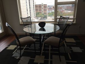 "Round Glass 48"" Dining Room Table & 4 Chairs (Black metal & tan/golden suede cloth seats) for Sale in Denver, CO"