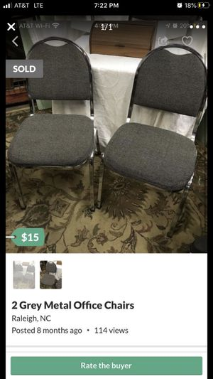 Grey Metal Office Chairs for Sale in Raleigh, NC