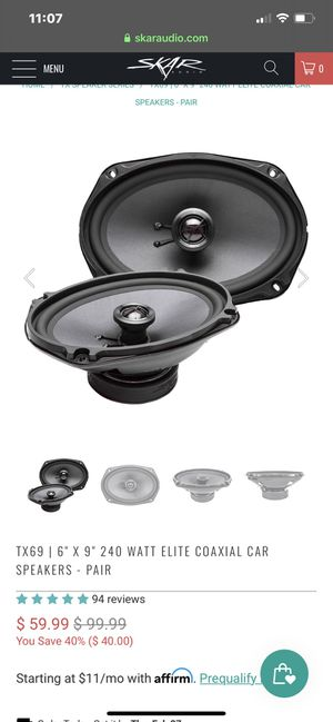 Skar audio coaxial speaker pair. 6x9 240 watts for Sale in Fairfield, CA