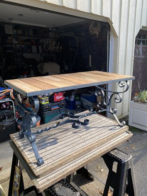 """Antique heavy cast iron and cedar table 36"""" long 18"""" wide 18"""" tall for Sale in North Reading, MA"""