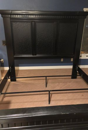 Dark Wooden Bed frame with Bed posts w/ matching nightstand for Sale in Highland, CA