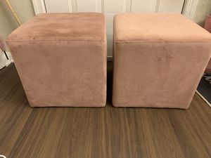 Two blush pink ottomans for Sale in Alexandria, VA