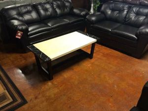 Brand new leather black sofa and loveseat for Sale in Chicago, IL