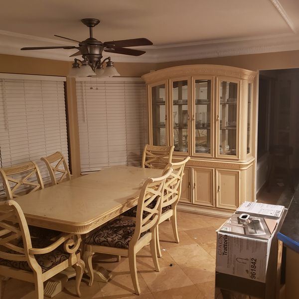 dining table with hutch and 6 chairs