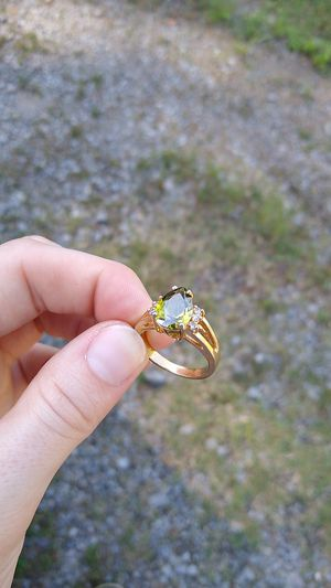 Olivine stone costume jewelry ring with CZ and all the shine for Sale in Little Rock, AR