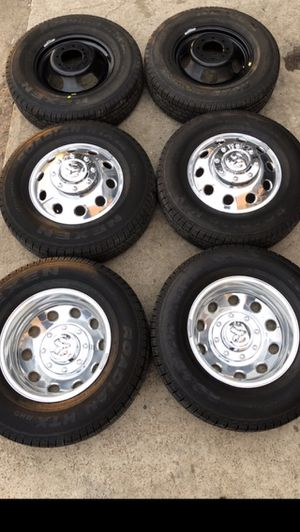 "Like new 17"" Dodge Ram Alcoa Rims And Tires 17 dually Wheels dualli 3500 Rines y Llantas Oem factory's factory original Take offs off takeoffs pull p for Sale in Dallas, TX"