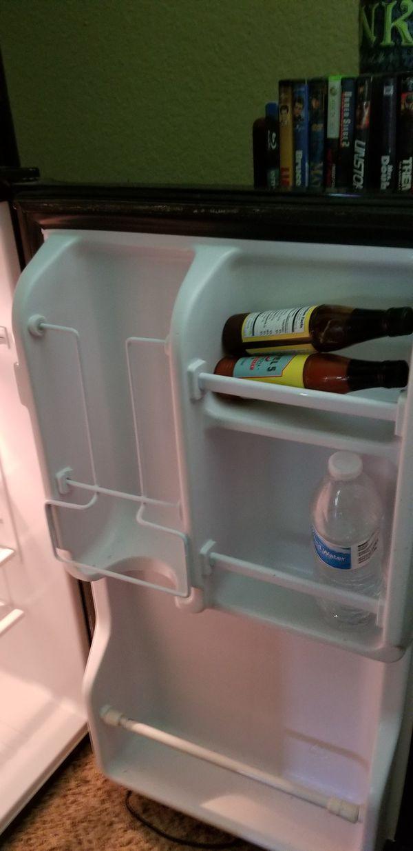 Dorm room fridge.