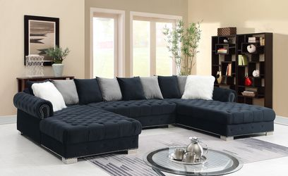 Take Home This Black Velvet Sectional With $54 Down for Sale in Dallas,  TX