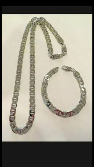 "8 mm 14KWGP Mariner link design necklace 23"" bracelet 7""3/4 for Sale in Richmond, CA"