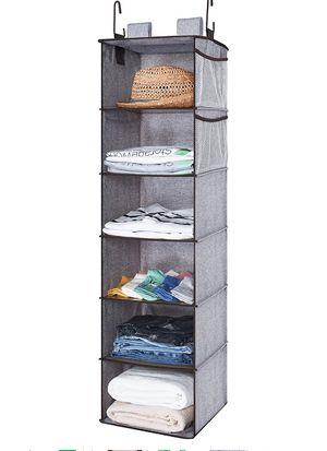 Hanging Closet Organizer, 6 Shelf Closet Organizer, 2 Ways Dorm Closet Organizers and Storage, Sweater Organizer for Closet, Gray, 12x12x42 inches for Sale in Plainfield, NJ
