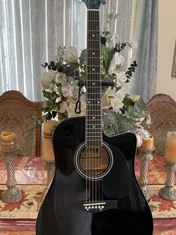 black fever electric acoustic guitar with metal strings for Sale in Bell Gardens,  CA