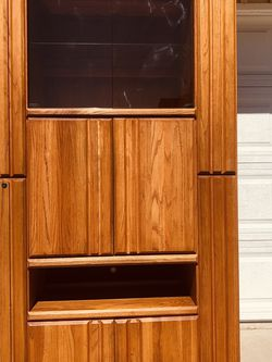 Wambold Oak Cabinet , Glass magnet door and Oak door, with glass and wood shelves , with built-in lights, everything is so perfect! for Sale in Garden Grove,  CA