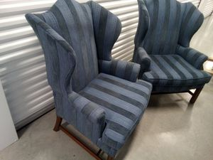 Wide back wingback chairs blue for Sale in Takoma Park, MD