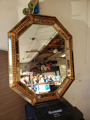 Antique Octagon Mirror Glass/Wood Trim for Sale in San Jose, CA