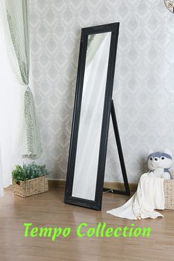 NEW, Wooden Standing Mirror with Decorative Design, Black, SKU# 7057-Black for Sale in Westminster,  CA