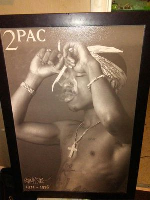 Framed textured tupac printed canvas for Sale in Sanger, CA