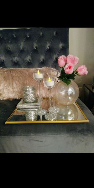 Glam Mirror Tray Glitter Set Candles Holder Flower Vases Girly Home Decor Bathroom Pink Silver for Sale in Charlotte, NC