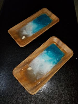 beach wave wooden jewelry trays resin acrylic paint and shell tray organizer box for rings necklaces earrings for Sale in Germantown, MD