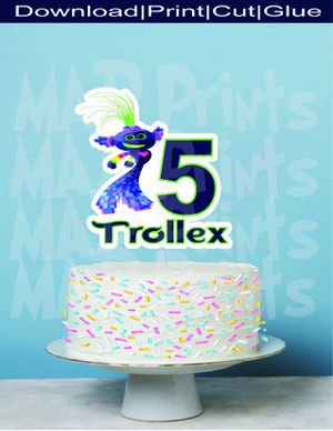 Printable Personalized King Trollex Cake Topper. Trolls Birthday for Sale in Oakland Park, FL