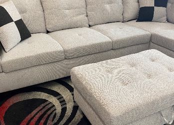 SPECIAL DEAL‼️ Grey White Left Sectional Sofa Set W/ Ottoman‼️ SAME DAY DELIVERY‼️No credit check‼️ for Sale in Las Vegas,  NV