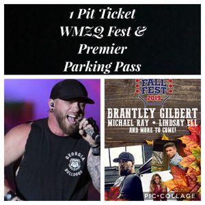 1 WMZQ Fall Fest GA Pit Ticket & Premier Parking Pass Brantley Gilbert Lindsey Ell Michael Ray 10/12 @ Jiffy Lube for Sale in Frederick, MD