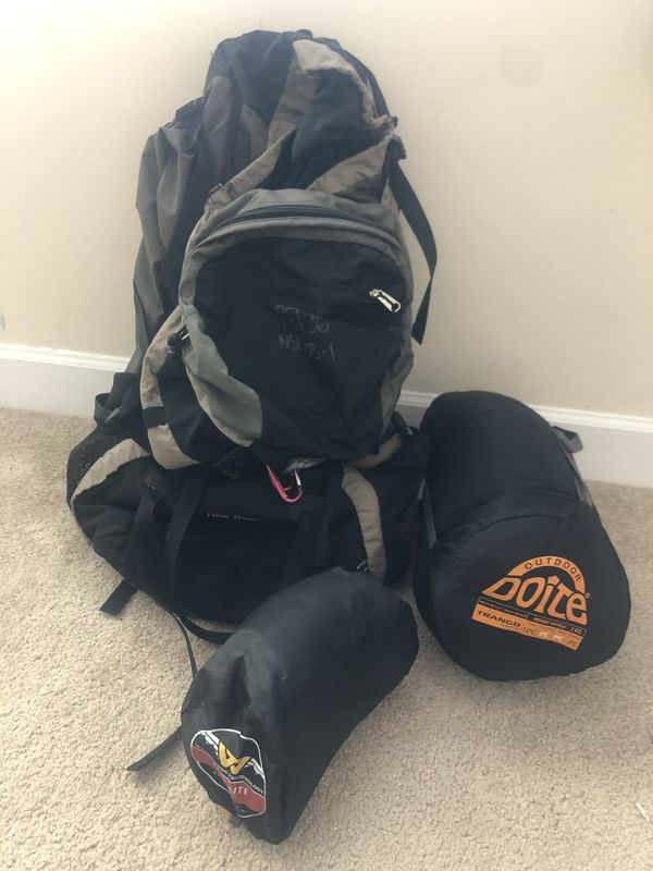 set of backpacking gear