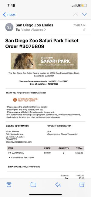 San Diego Safari tickets for 10-22-2020 for Sale in La Habra, CA