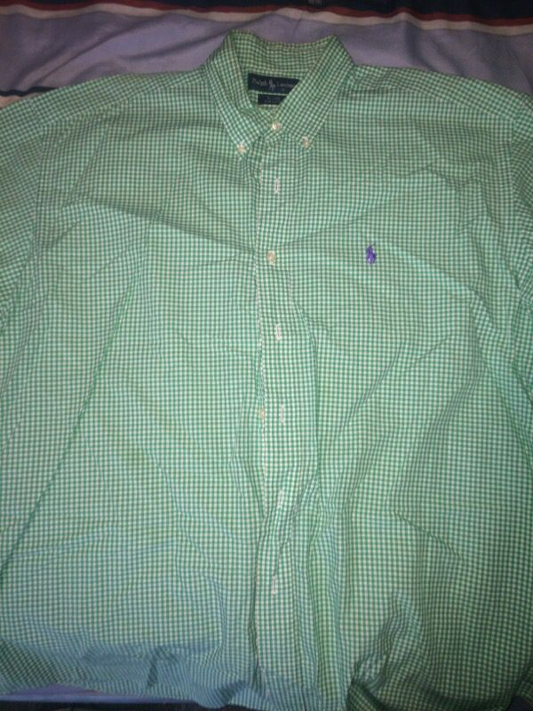 Green/White Polo Button Up (Short Sleeve) XL
