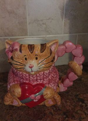 Valentines cat with hearts hand-painted mug for Sale, used for sale  Morrisville, PA