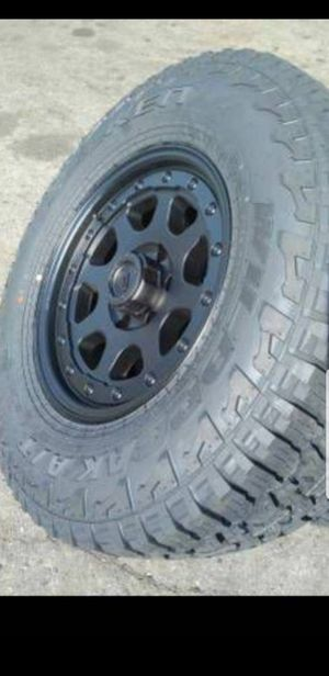 4 New Tires 265-70-17 Falken Wildpeak AT3 on 6 Lug 6x5.5 Black Pacer Wheels/Rims P265/70/17 R17 inch for Sale in Moreno Valley, CA