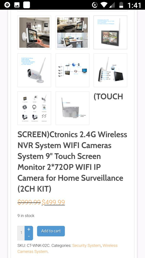 CTRONICS 2 weatherproof cameras & 9 inch touchscreen monitor with 500GB 2 5  hard drive for Sale in East Los Angeles, CA - OfferUp
