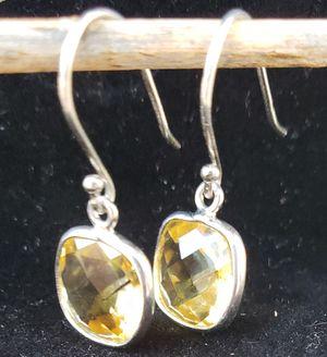 Citrine Dangle checkerboard cut earrings for Sale in Payson, AZ