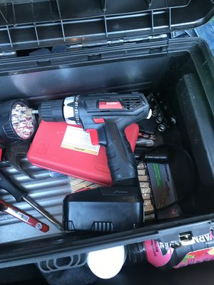Drill master drill with extras and toolbox for Sale in Butler, IN