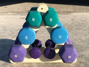 (NEOPRENE) DUMBBELL SET/ WITH SMALL TRIANGLE RACK : PAIRS OF DUMBBELL WEIGHTS . : 8 LB. 6 LB. 5 LB. 2 LB. for Sale in Deerfield Beach, FL