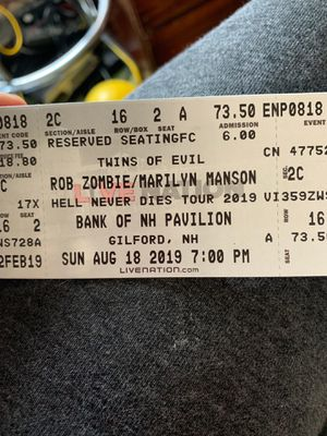 2 Rob Zombie/Marilyn Manson tix and parking for Sale in Marlborough, MA