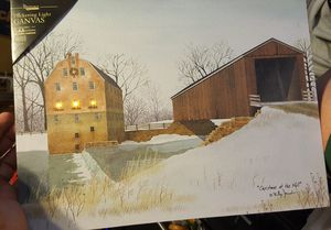 """FLICKERING LIGHT CANVAS """"CHRISTMAS AT THE MILL"""" 16X12 for Sale in Philadelphia, PA"""