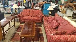 Inlaid mahogany 4pc set: coffee table, console table and 2 end tables for Sale in Pasadena, TX