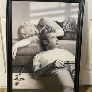 James Dean & Marlyn Monroe Poster w/ Wood Frame for Sale in Whittier, CA