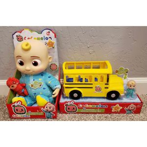 "NEW Set of COCOMELON Toys JJ Doll Soft 10"" Plush and Musical School Bus Youtube Bundle for Sale in Compton, CA"