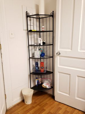 2 Corner shelves, black iron and glass for Sale in Washington, DC