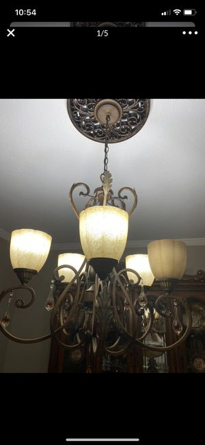 Chandelier with magnetic beads and the ceiling cover for Sale in Westlake, OH